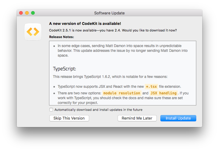 Funny Codekit Release Notes - October 2015