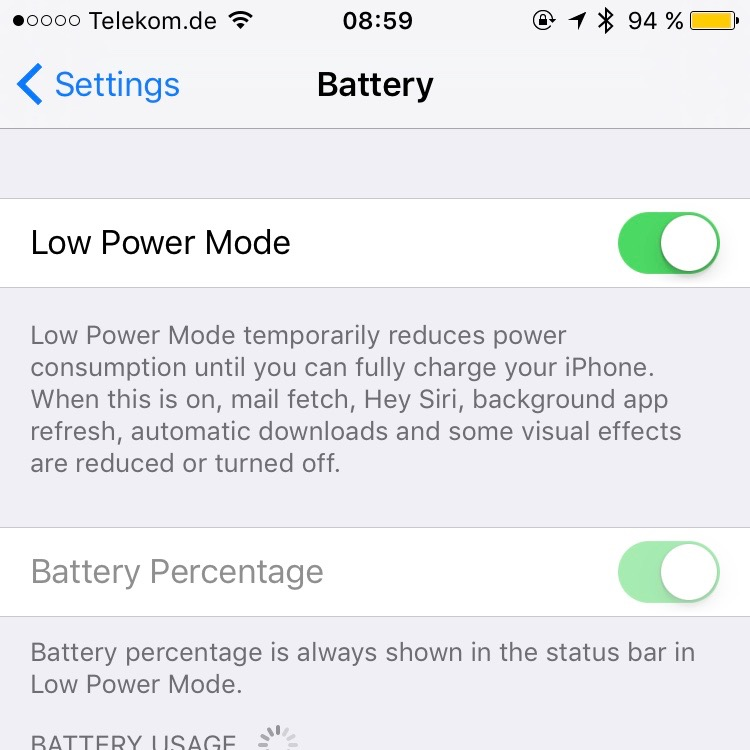 iPhone Low Power Mode Batterie Test nach 8,5 Stunden