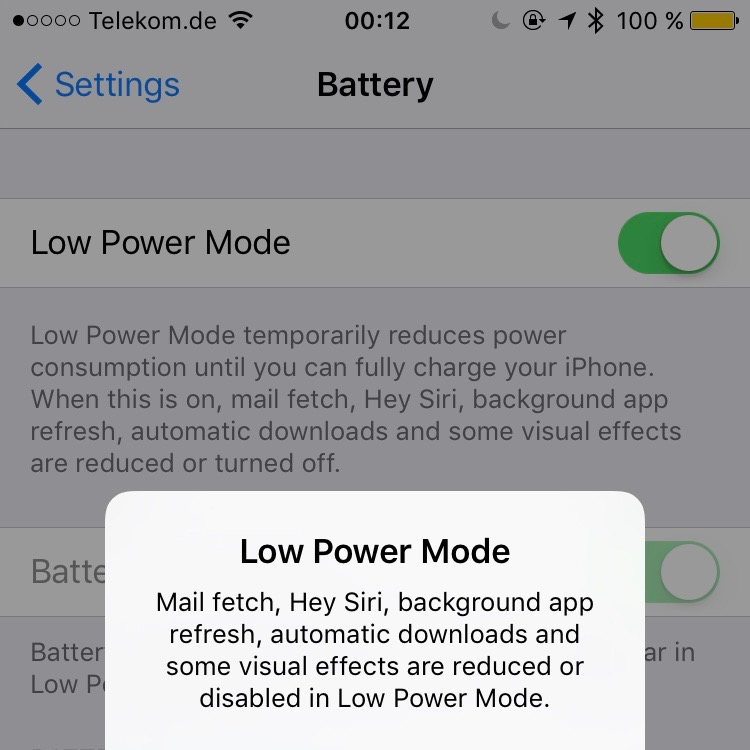 iPhone Low Power Mode Batterie Test einschalten