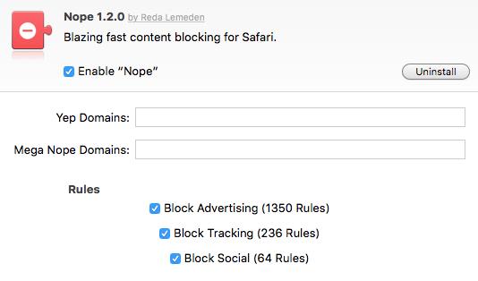 """Einstellungen des Safari Content Blocker """"Nope"""" für OSX"""